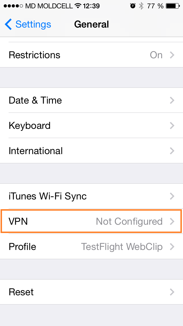 iOS Settings VPN