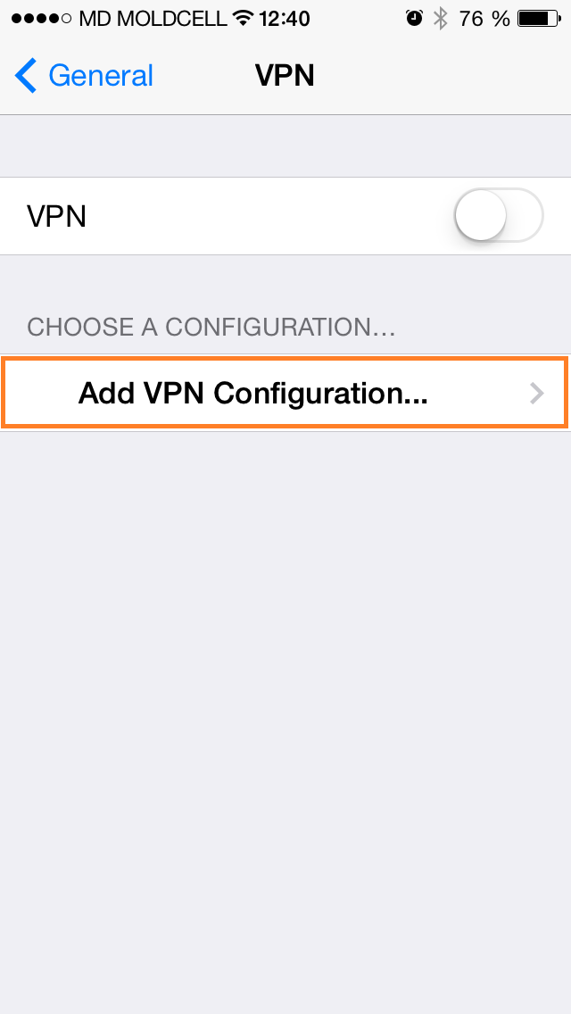 iOS Add VPN configuration